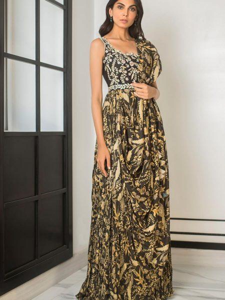 Sania Maskatiya Printed crushed draped saree dress PD5079