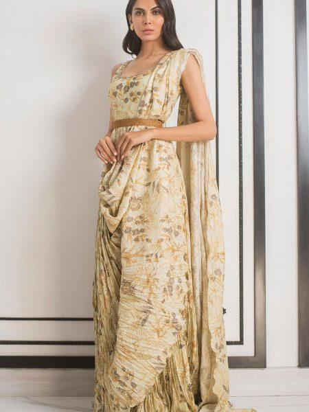 Sania Maskatiya Printed crushed draped saree PD5080