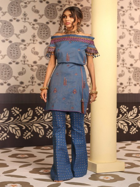Alkaram Studio Festive Vol-2 2 Piece Embroidered Suit with Cambric Trouser FC-11F-19-2-Blue