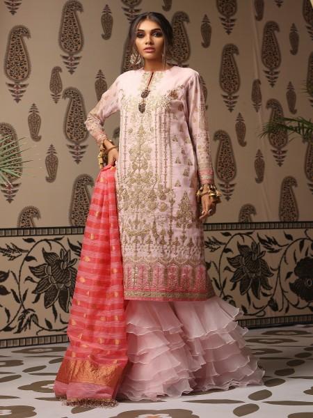 Alkaram Studio Festive Vol-2 3 Piece Embroidered Suit with Jacquard Dupatta FC-7D-19-2-Pink