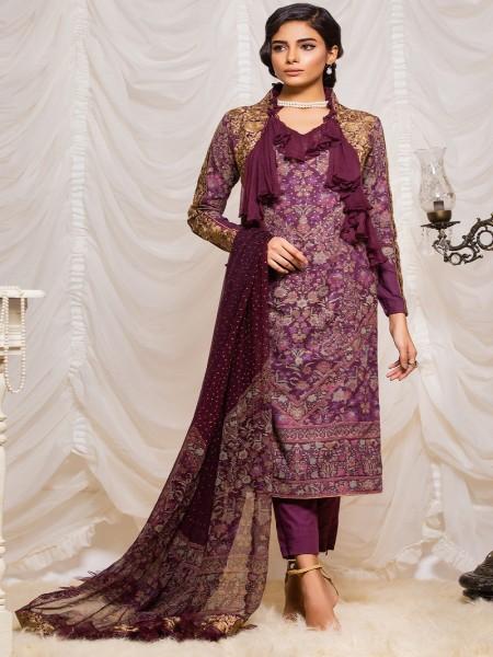 Alkaram Studio Lyrique 3 Piece Embroidered Suit with Chiffon Dupatta JC-09-19-B-Purple