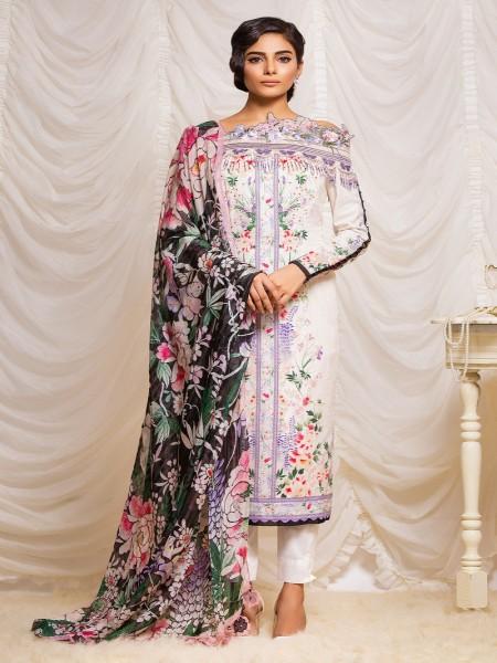 Alkaram Studio Lyrique 3 Piece Embroidered Suit with Printed Silk Dupatta JC-20-19-Cream