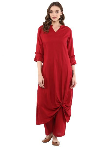 Fifth Avenue Women's TPS177 Stitch and Knot Detail Kurti and Pants Set - Maroon