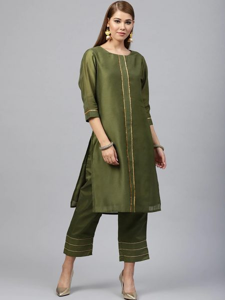 Fifth Avenue Women's TPS247 Gota Lace Kurti and Pants Set - Green