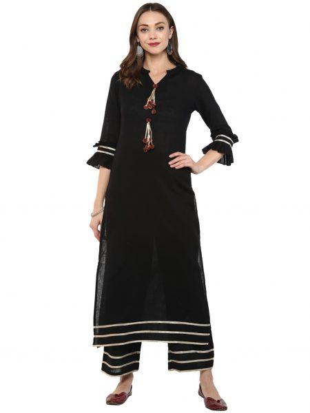 Fifth Avenue Women's TPS253 Gotta Lace Kurti and Pants Set - Black