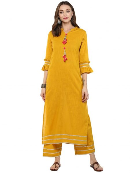 Fifth Avenue Women's TPS253 Gotta Lace Kurti and Pants Set - Yellow