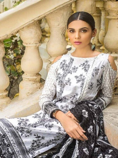 Gul Ahmed Black & White Collection White B-50