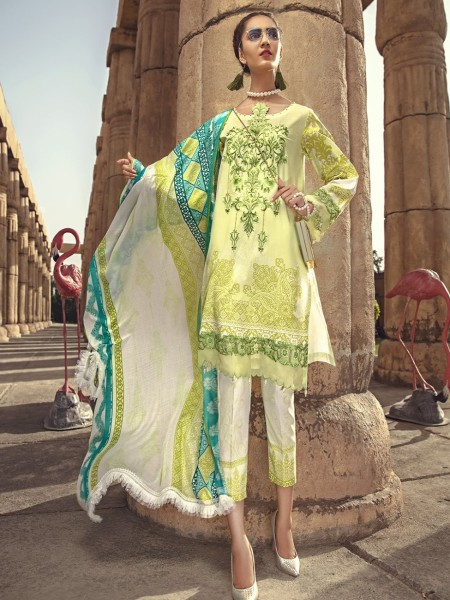 House of Ittehad Mid Summer Ethnics MELLOW GREEN