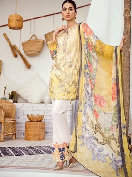 Iznik Chinon Lawn Vol 3 ICL -04 Pastel Yellow (3PC)
