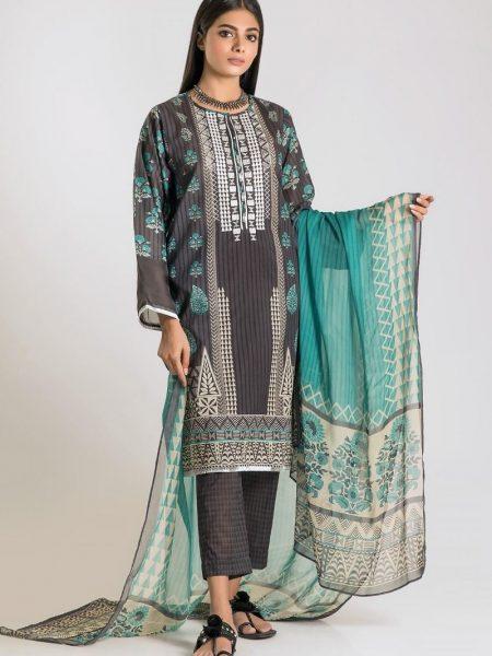 Khaadi Unstitched Festive Collection Shirt Shalwar Dupatta G19402-Grey-3Pc
