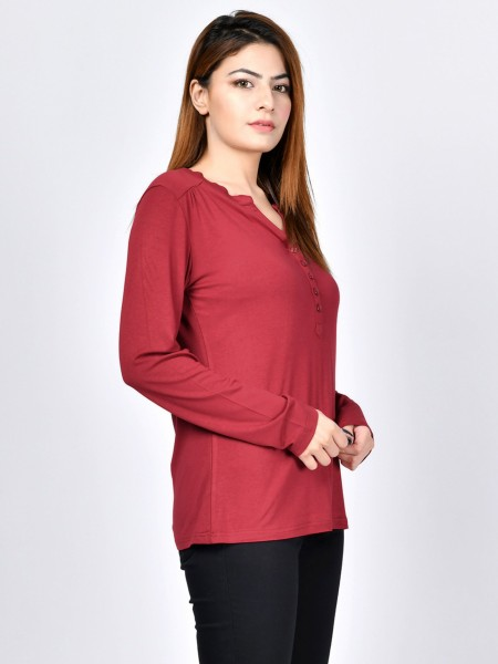 LimeLight Buttoned Jersey Top F1597-LRG-MRN