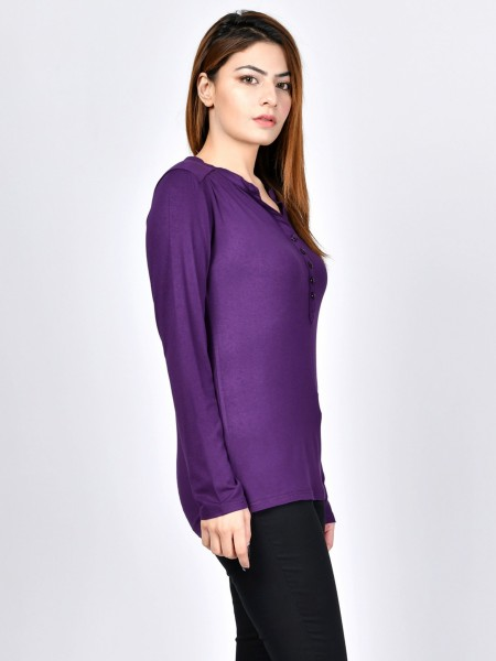LimeLight Buttoned Jersey Top F1597-LRG-PRL