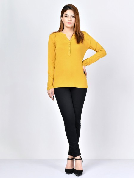 LimeLight Buttoned Jersey Top F1597-LRG-YLW