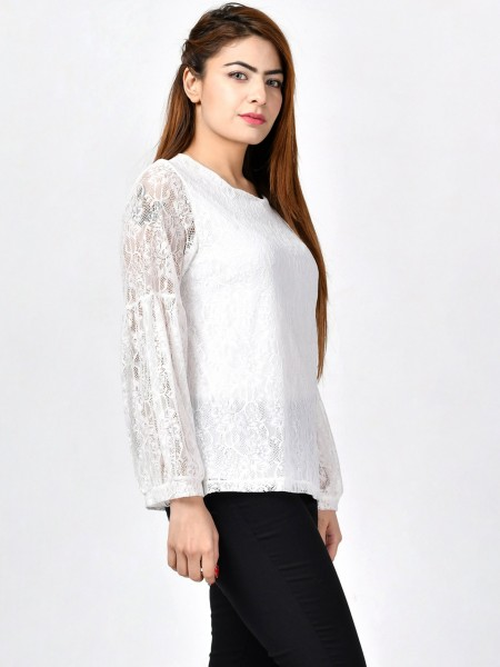 LimeLight Floral Net Top F1641-LRG-WHT