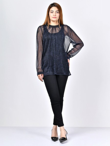 LimeLight Moonlit Net Top F1846-LRG-BLU