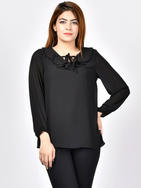 LimeLight Ruffle Neck Top F1635-LRG-001