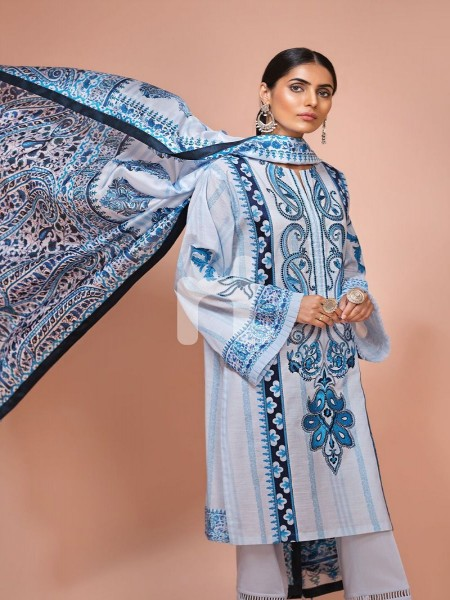 Nishat Linen 41907502-Silk Chiffon, Slub Lawn & Cambric - Blue Digital Printed Embroidered 3PC
