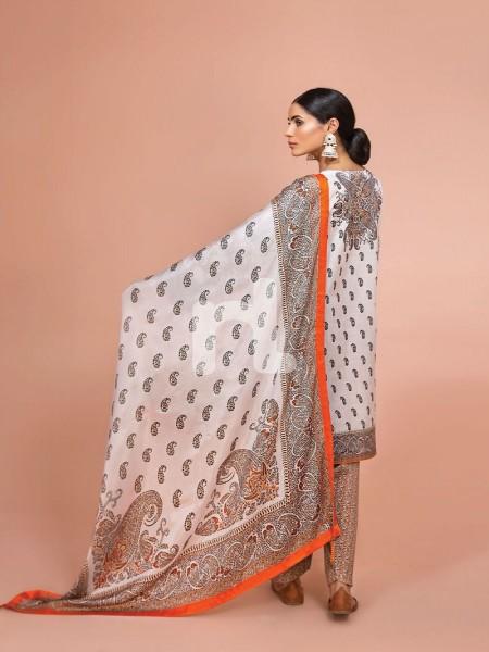 Nishat Linen 41907503-Silk Chiffon, Slub Lawn & Cambric Off White Digital Printed Embroidered 3PC