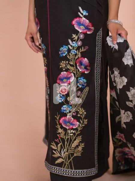 Nishat Linen 41907505-Silk Chiffon, Slub Lawn & Cambric Black Digital Printed Embroidered 3PC