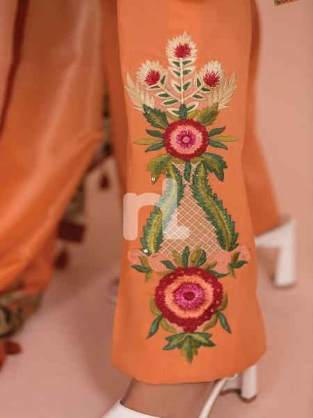 Nishat Linen 41907507-Silk Chiffon, Slub Lawn & Cambric Orange Digital Printed Embroidered 3PC