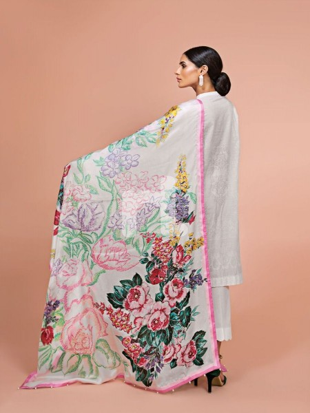Nishat Linen 41907509-Silk Chiffon, Slub Lawn & Cambric White Digital Printed Embroidered 3PC