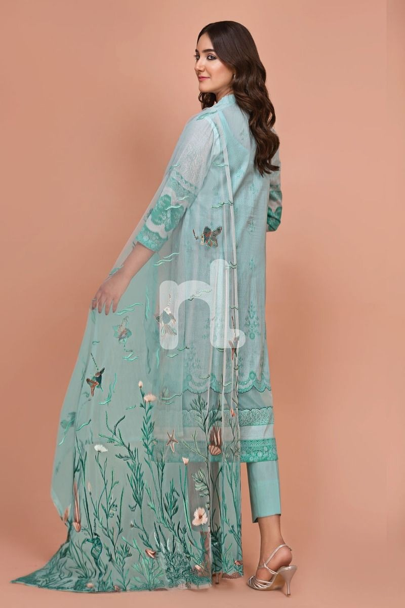 Nishat Linen 41907525-Net, Lawn & Cambric Green Digital Printed Embroidered 3PC