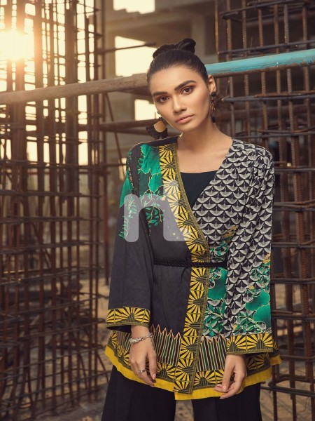 Nishat Linen FS19-13 Black Digital Printed Stitched Micro Modal Fusion Jacket - 1PC