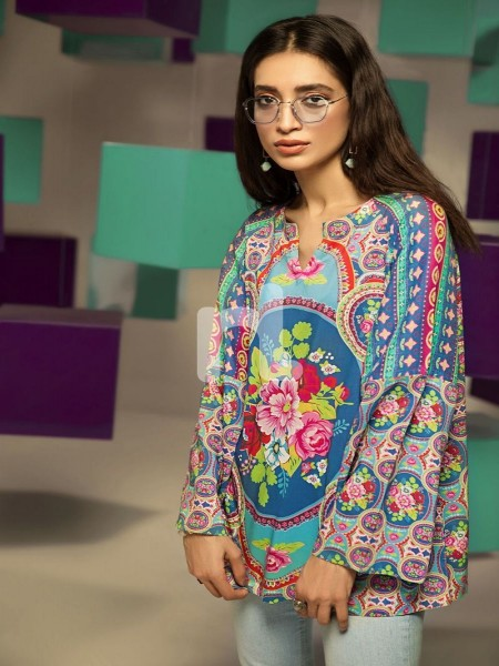 Nishat Linen FS19-22 Blue Digital Printed Stitched Micro Modal Fusion Top - 1PC