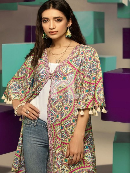 Nishat Linen FS19-23 Pink Digital Printed Stitched Micro Modal Fusion Jacket - 1PC