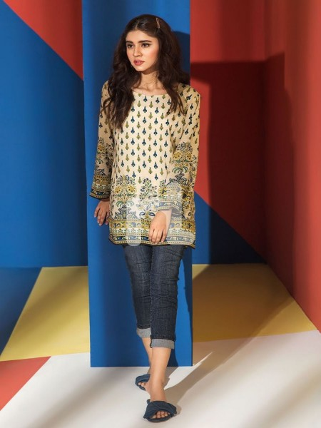 Nishat Linen FS19-40 Yellow Printed Stitched Micro Modal Fusion Top - 1PC