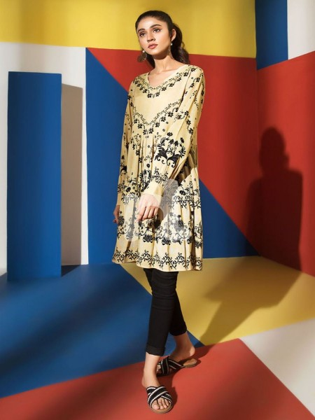 Nishat Linen FS19-44 Beige Printed Stitched Micro Modal Fusion Top - 1PC