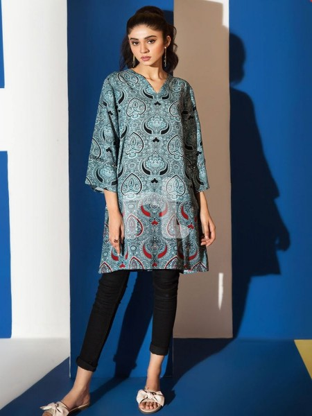 Nishat Linen FS19-46 Grey Printed Stitched Micro Modal Fusion Top - 1PC