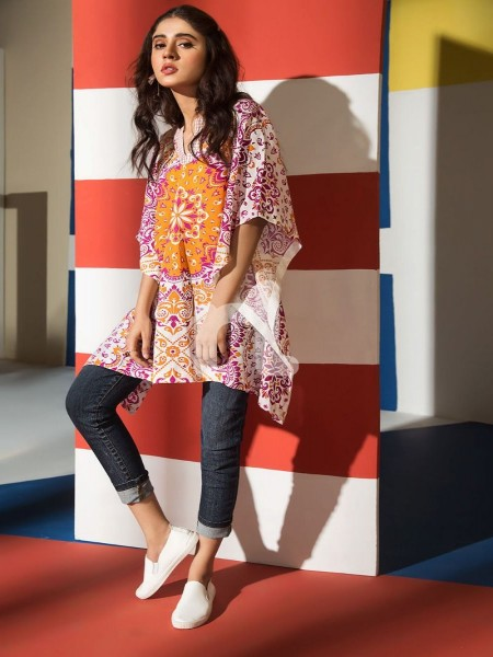 Nishat Linen FS19-57 Pink Printed Embroidered Stitched Micro Modal Fusion Top - 1PC
