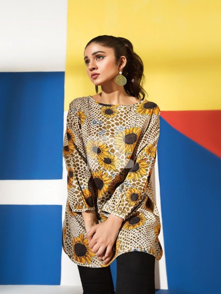 Nishat Linen FS19-61 Brown Printed Stitched Micro Modal Fusion Top - 1PC