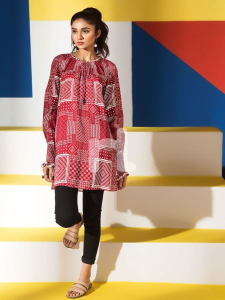 Nishat Linen FS19-62 Red Printed Stitched Micro Modal Fusion Top - 1PC