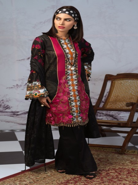 Salitex Printed Lawn Shirt with Embroidered Front & Lawn Jacquard Dupatta Festive Poshmal 3pc (WK-309A)