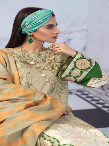 Salitex Printed Lawn Shirt with Embroidered Front & Lawn Jacquard Dupatta Festive Poshmal 3pc (WK-310A)