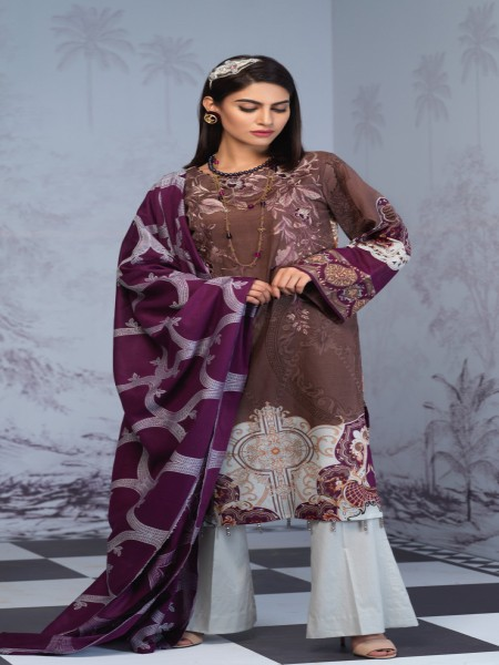 Salitex Printed Lawn Shirt with Embroidered Front & Lawn Jacquard Dupatta Festive Poshmal 3pc (WK-310B)