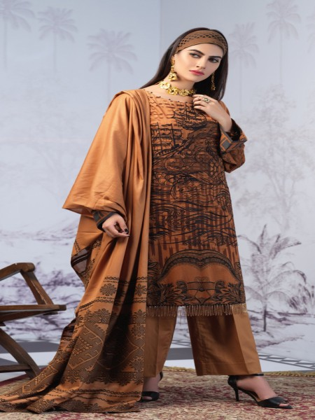 Salitex Printed Lawn Shirt with Embroidered Front & Lawn Jacquard Dupatta Festive Poshmal 3pc (WK-311B)
