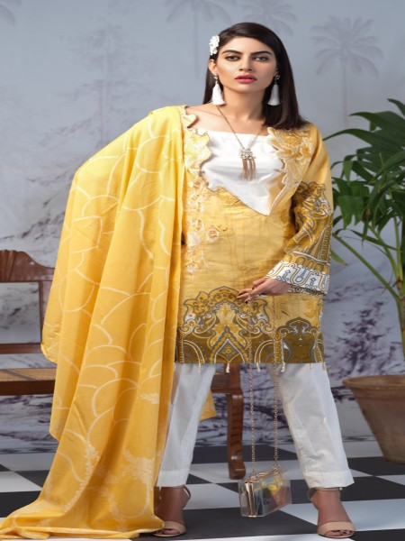 Salitex Printed Lawn Shirt with Embroidered Front & Lawn Jacquard Dupatta Festive Poshmal 3pc (WK-312A)