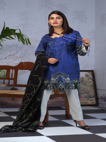 Salitex Printed Lawn Shirt with Embroidered Front & Lawn Jacquard Dupatta Festive Poshmal 3pc (WK-312B)