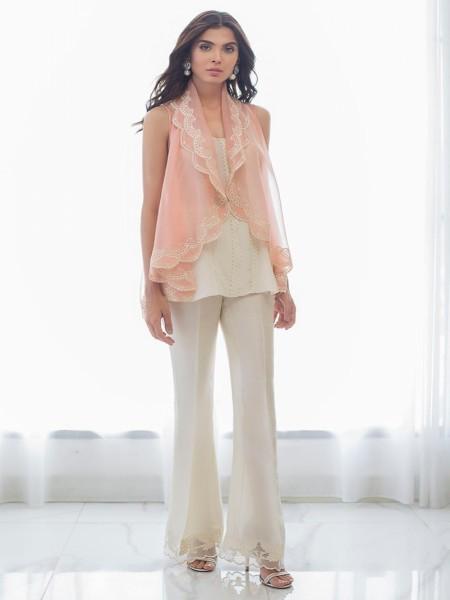 Sania Maskatiya Eid Collection Embroidered draped organza jacket PD19RG016