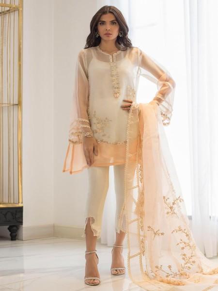 Sania Maskatiya Eid Collection Embroidered organza kurta with dupatta PD19RG014