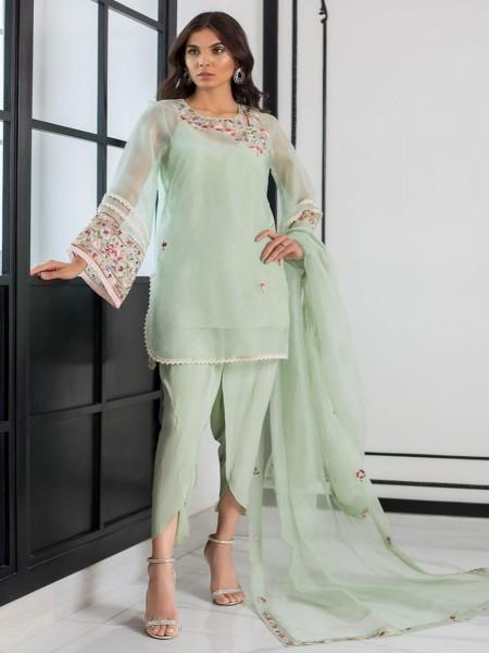 Sania Maskatiya Eid Collection Embroidered organza kurta with dupatta PD19RG017