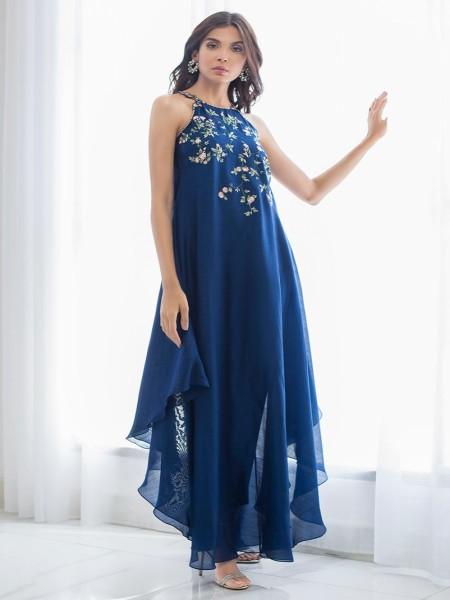Sania Maskatiya Eid Collection Halter embroidered long dress PD19RG028