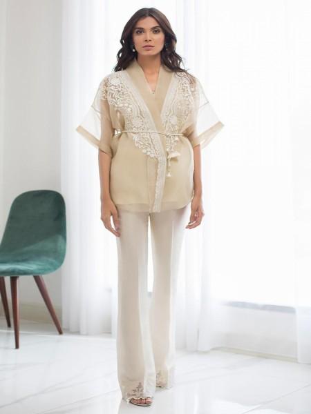 Sania Maskatiya Eid Collection Organza embroidered cape PD19RG006