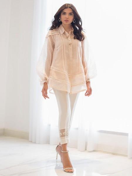 Sania Maskatiya Eid Collection Organza woven button down shirt PD19RG030