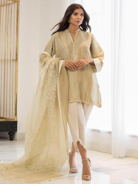 Sania Maskatiya Eid Collection Pleated raw silk kurta PD19RG009