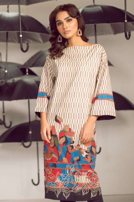 Alkaram Studio Infinite Collection 2 Piece Embroidered Suit with Cambric Trouser MS-21-19-Brown
