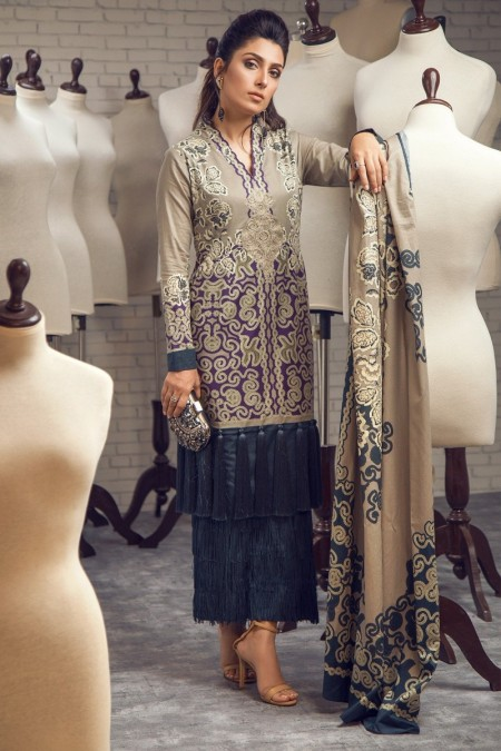 Alkaram Studio Infinite Collection 2 Piece Embroidered Suit with Lawn Dupatta MS-18-19-Purple